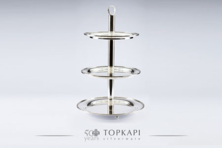 3 level silver plated pastry stand with 'Ruban Croise' border