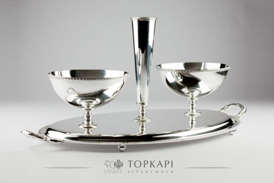 Oval silver plated sweets tray with 2 bowls and vase