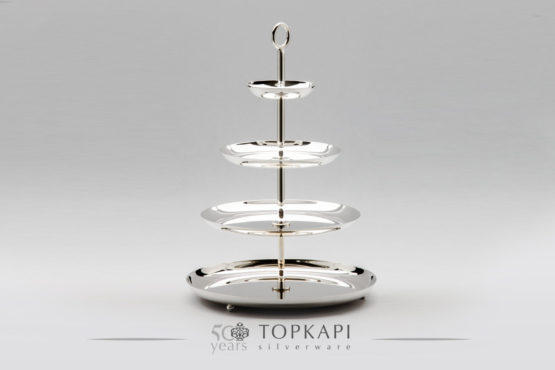 4 level simple silver plated pastry stand