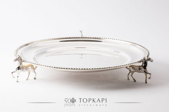 Round silver plated horse tray with pearl border