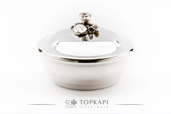 Classic silver plated round candy box