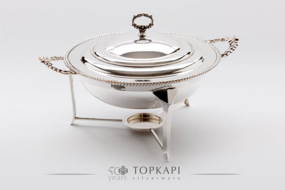 Round 'Wheat Leaf' silver plated chafing dish