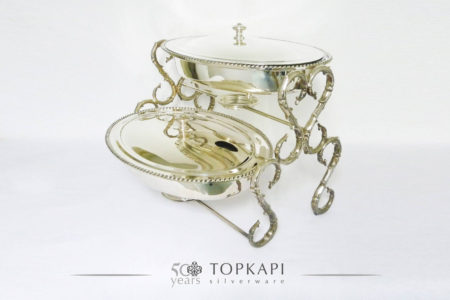 Double oval silver plated chafing dish