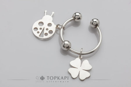 Clover and ladybug silver plated key ring