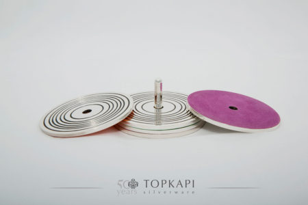 Topkapi-Set of 4 'Record style' coasters with 'spindle' stand