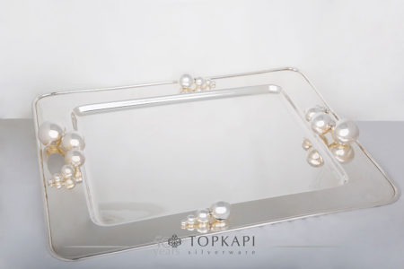 Rectangular silver plated spheres tray