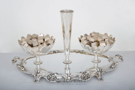 Topkapi-Casted mirror tray with 2 bowls