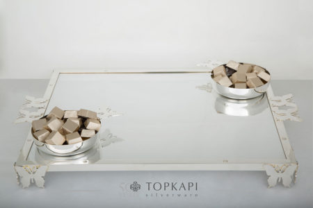 Topkapi-Rectangular butterfly tray with 2 chocolate bowls