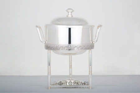 Topkapi-Round sauce chafing dish with pressed border design