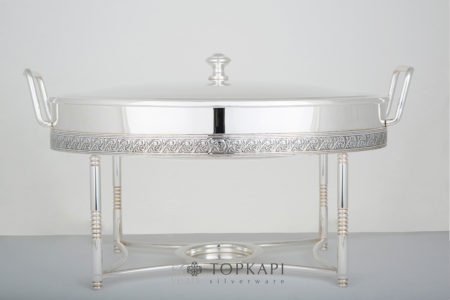 Topkapi-Oval chafing dish with pressed border design
