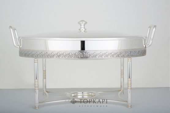Topkapi-Oval chafing dish with pressed border design