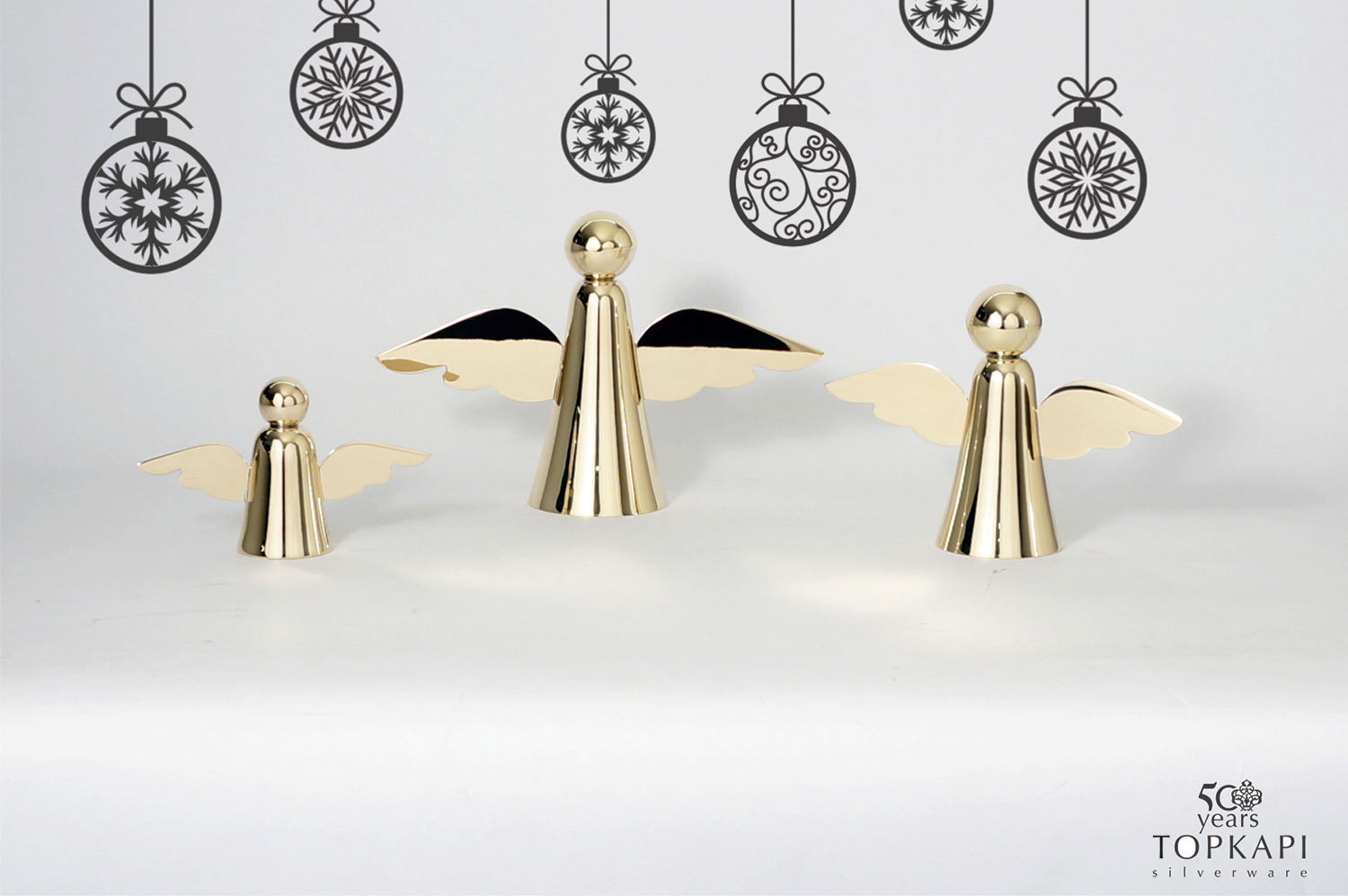 Silver plated set of 3 angels
